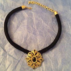 Black Velvet Choker Pendant Necklace